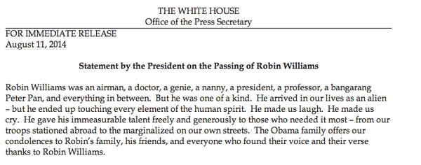 President Obama's Tribute To Robin Williams
